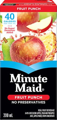 Minute Maid, 'No Sugar Added' Fruit Punch, 200 mL Tetra Box